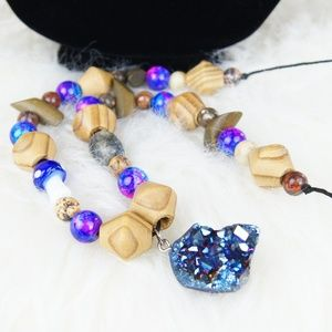 Handcrafted, blue/purple wooden beaded necklace
